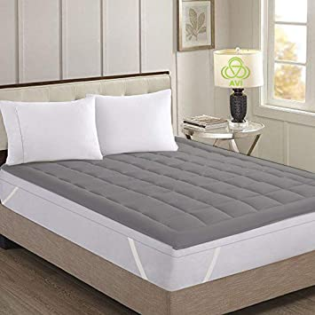 AVI Super Soft 700GSM Mattress Padding/Topper with Hollow Fiber Filling for Comfortable Sleep - Grey (72x78)