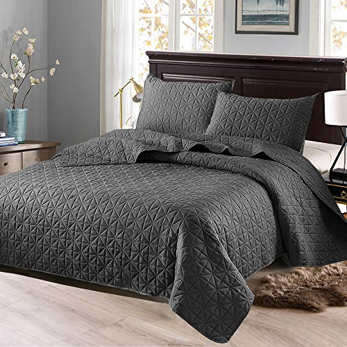 Exclusivo Mezcla 3-Piece Queen Size Quilt Set with Pillow Shams, as Bedspread/Coverlet/Bed Cover(Solid Steel Grey) - Soft, Lightweight, Reversible& Hypoallergenic (Size Only Queen Comforter)