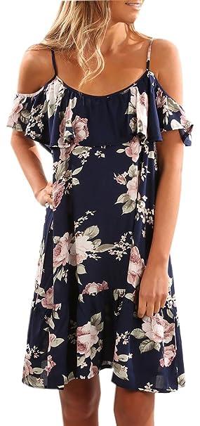 Mujer Vestido Verano Flores Verano Vestidos Manga Corta Estampados Flores Mujeres Playero Casual Honda Dress Azul