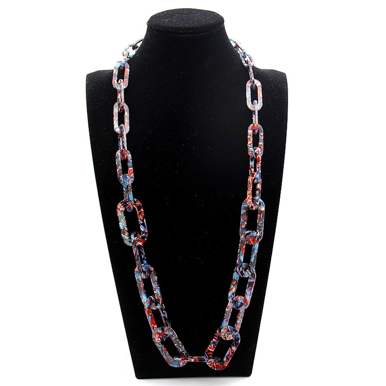 Magic Magic Shop Acid Acrylic Long Chain Necklace Bohemian Braided Link Chains Party Jewelry Gifts
