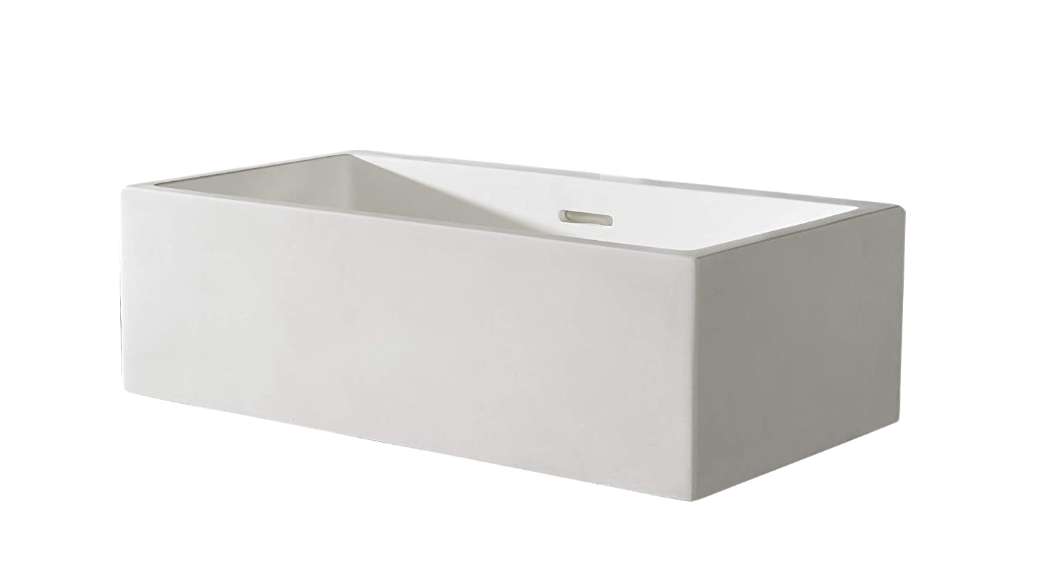 Clickbasin Pure White Solid Surface 45cm X 25cm Wall or Counter Mounted Basin