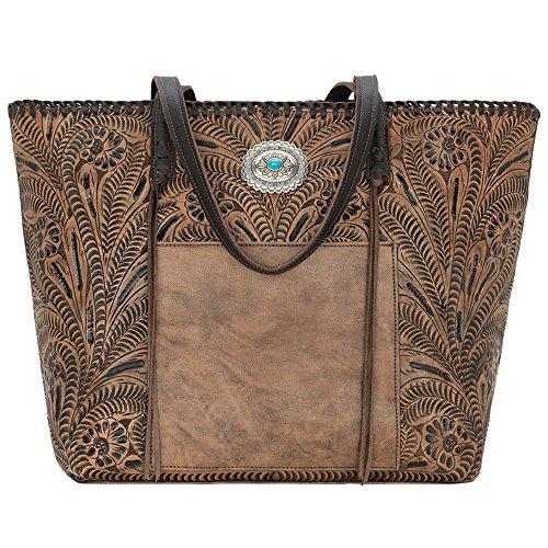 American West Women's Santa Barbara Large Shopper Tote Distressed Charcoal Brown/Chocolate Handbag -