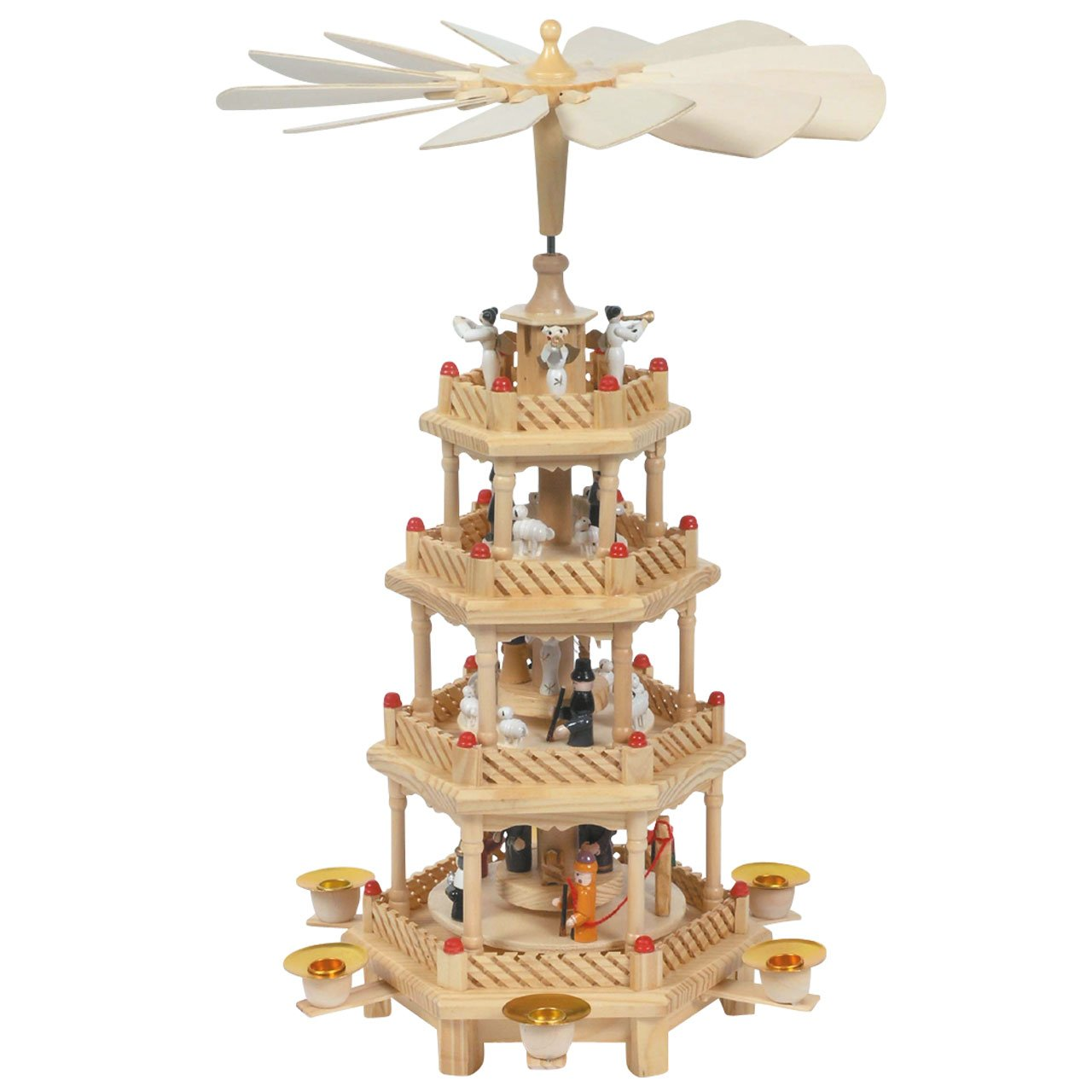 H: 43 cm handbemalt im Erzgebirgestil 3 Motive in 3 Etagen Weihnachts-Pyramide natur