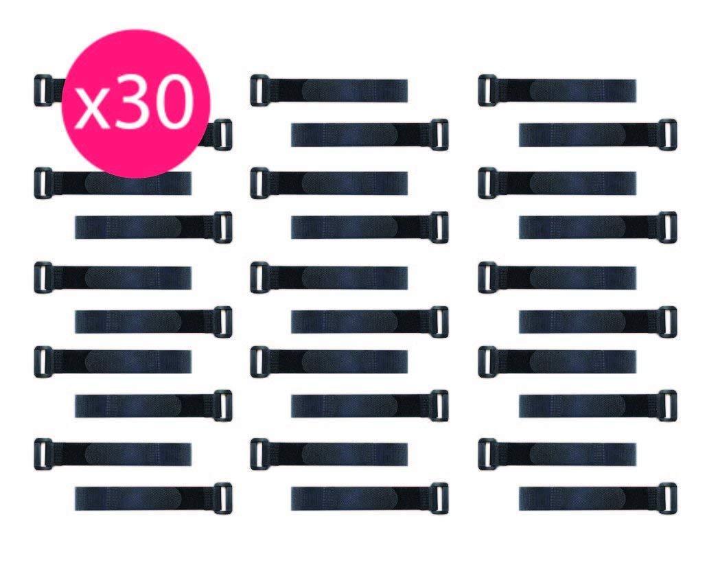 30 Fascette Elettricista Raccogli Cavi RICHIUDIBILI in Velcro TV Ideale per sistemare Cavi Pc Fascette Nascondi Cavi Colore: Nero