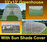 Green Garden Hot House Walk In Greenhouse 33'x13' + Sun Shade Cover - By DELTA Canopies