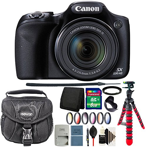 Canon PowerShot SX530 HS 16MP Wi-Fi Digital Camera (Black) + 67mm Filter Kit + Adapter Ring + Tulip Lens Hood + 8GB Memory Card + Wallet + Extra Battery + Case + Cap Holder + 3pc Cleaning Kit Review