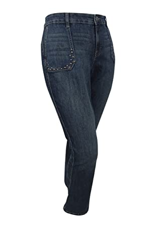 6bbe7a43294 Style   Co. Womens Plus Studded Shadow Wash Boot Cut Jeans Blue 22W ...