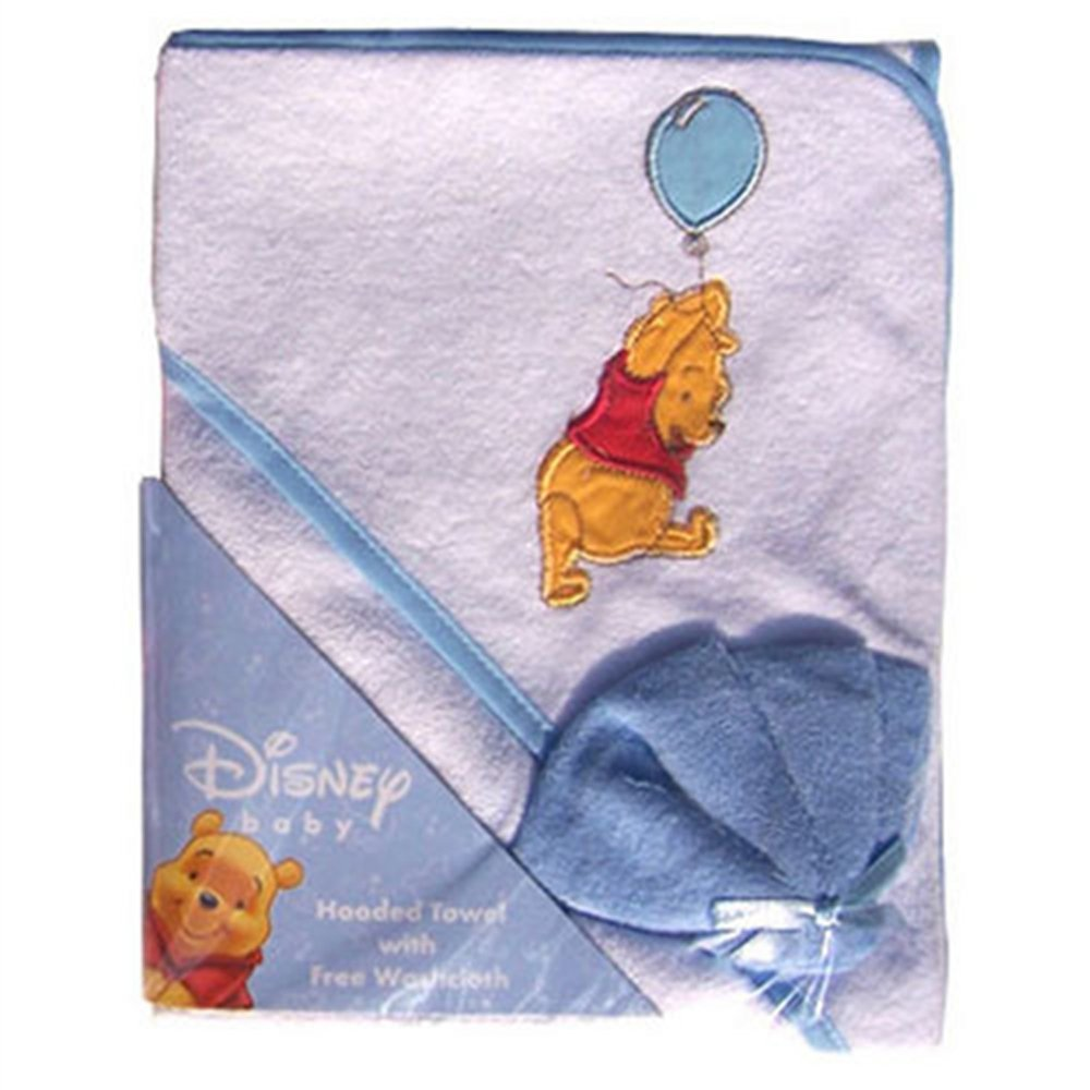Winnie The Pooh Hooded Towel & Washcloth set - blue disney
