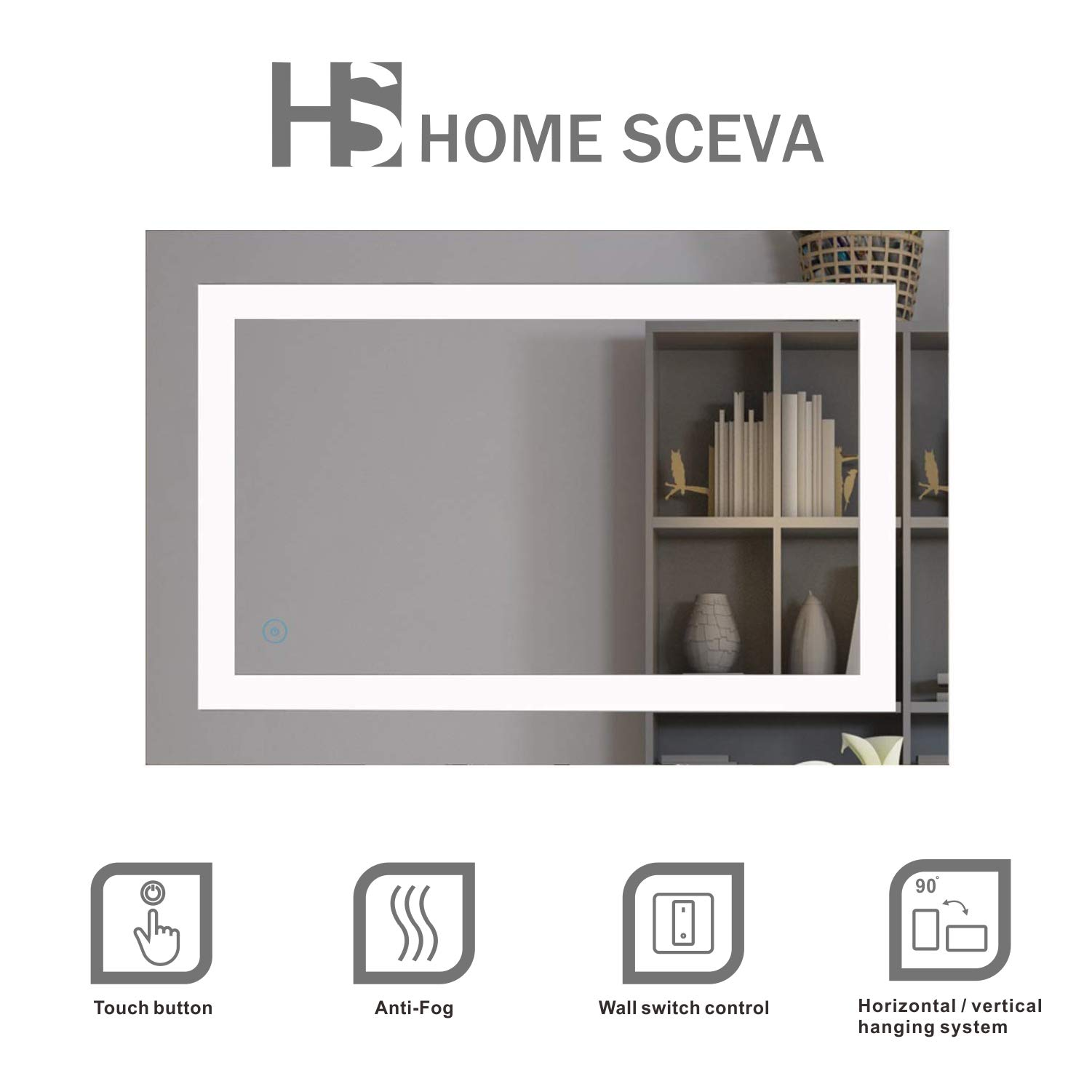 Home SCEVA LED Lighted Mirrors Vanity Bathroom Frameless Backlit Wall Mirror Anti Fog Touch Button 35.4 x 23.6 in by HS HOME SCEVA