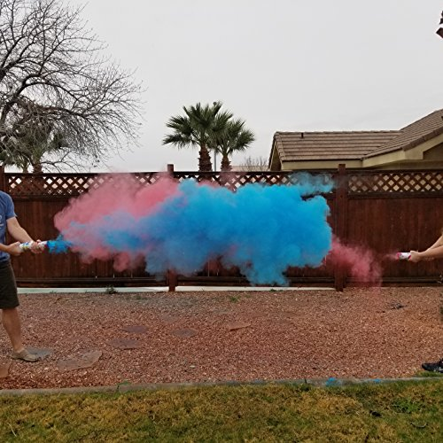Adventure Awaits!!!! - Baby Gender Reveal & for Other Festivals - Color Dispenser 6-Pack Hand Held Air Filled Party Popper - Also for Color Run Festival Product combos