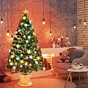 Goplus Artificial Tabletop Christmas Tree Green Optical Fiber 90 Tips PVC with 26 Plastic Colorful Balls & Golden Star Premium Decorations Solid Base Full Tree 104