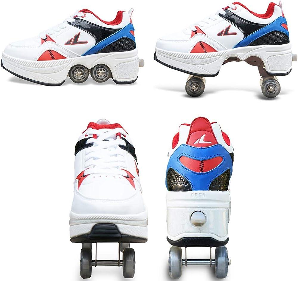 Haooyeah Roller Skates Skate Double Row Deformation Roller Skates Sneakers Chaussures Roues Bottes Invisible Multifonctionnel Automatique Chaussures de Course Poulie Patins pour Sports de Plein Air