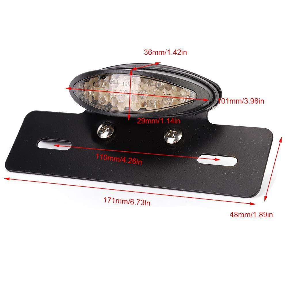 Akozon Moto ovale retr/ò LED posteriore luce freno targa lampada targa Luce freno Red Cover