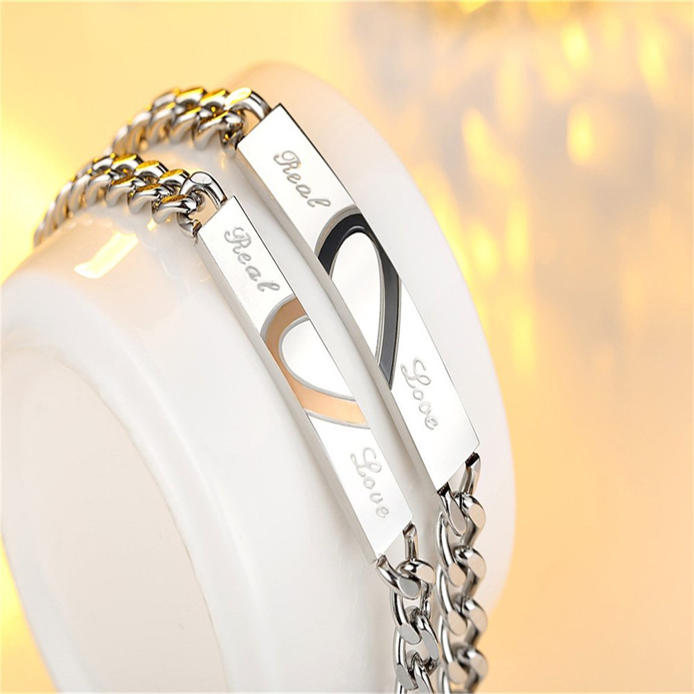 XIAOLI Real Love Stainless Steel Couple Bracelets For Women Men Jewelry Matching Set (Style 1) by XIAOLI (Image #2)