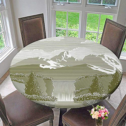 Mikihome Picnic Circle Table Cloths Woodcut Style Mod of Stream and Paradise Art Sage Green for Family Dinners or Gatherings 35.5