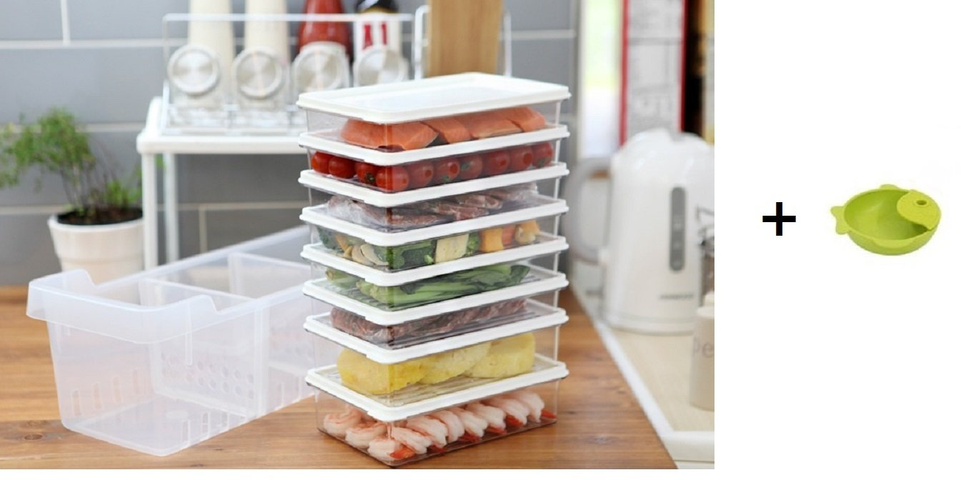 Kitchen Refrigerator Organizer, Fridge and Freezer Storage Trays Large+Food Containers with Lids L1(6P)+L2(2P), Set of 9, Premium A