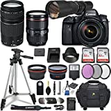 Canon EOS 6D Mark II DSLR Camera w/5 Lens Bundle including EF 24-105mm f/4L IS II USM + 2.2x Telephoto & 0.43x Aux Wide Angle Lens + 2Pcs 32GB SD + Accessories with Premium Commander Kit (30 Items)