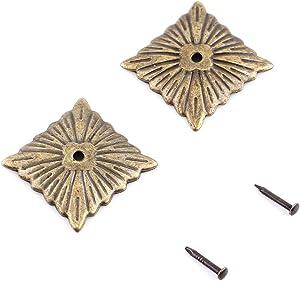 100PCS Upholstery Tacks,Vintage Bronze Metal Tags thumb Furniture Sofa Shoe Door Decorative Tack Stud(K247 square nail 21×21mm)
