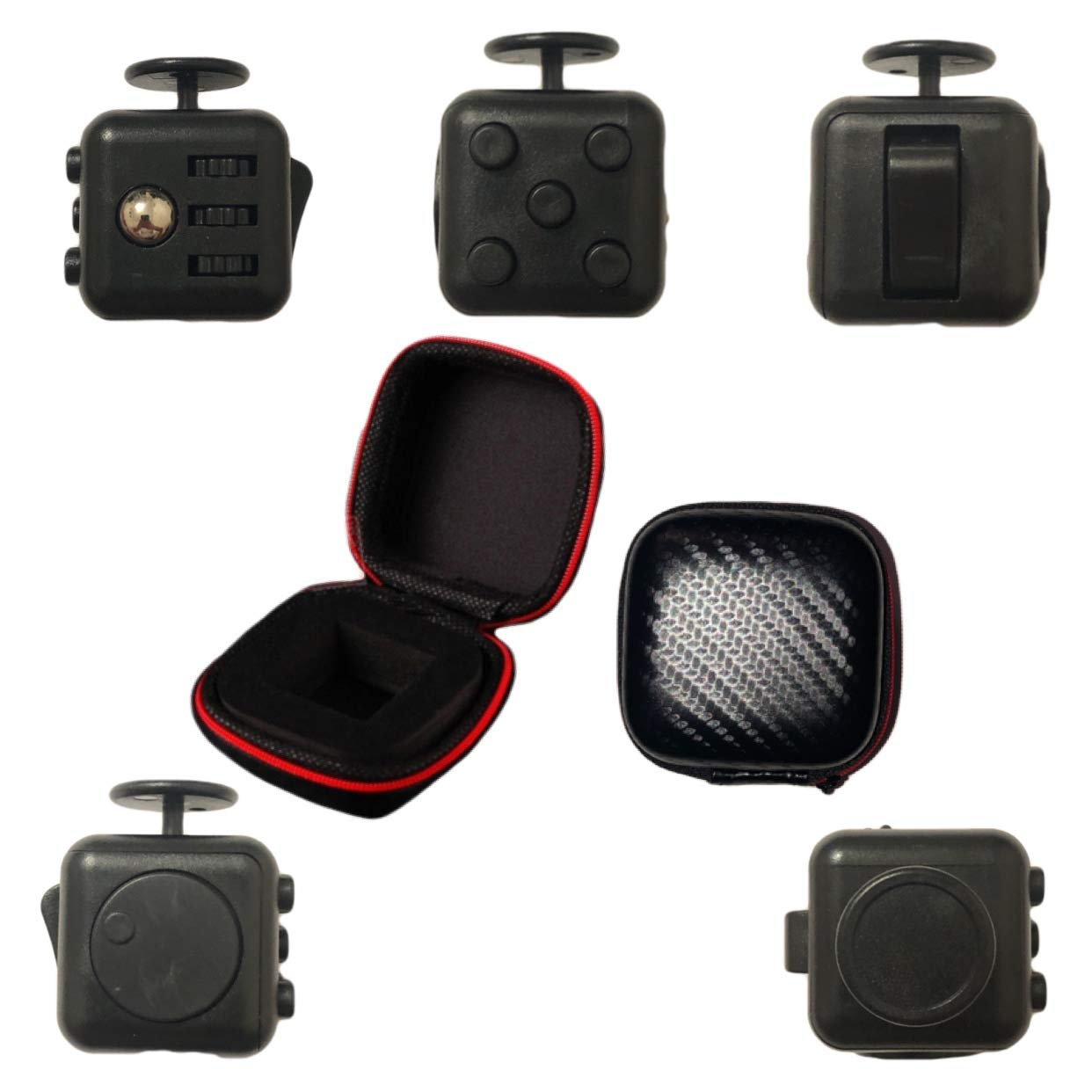 Monday Supplies Inc. Fidget Cube Toy - Premium Quality Stress Relief, ADHD and Anxiety Toy, Autism Calming Toy - with Exclusionary Zipper Case - Matte Black China