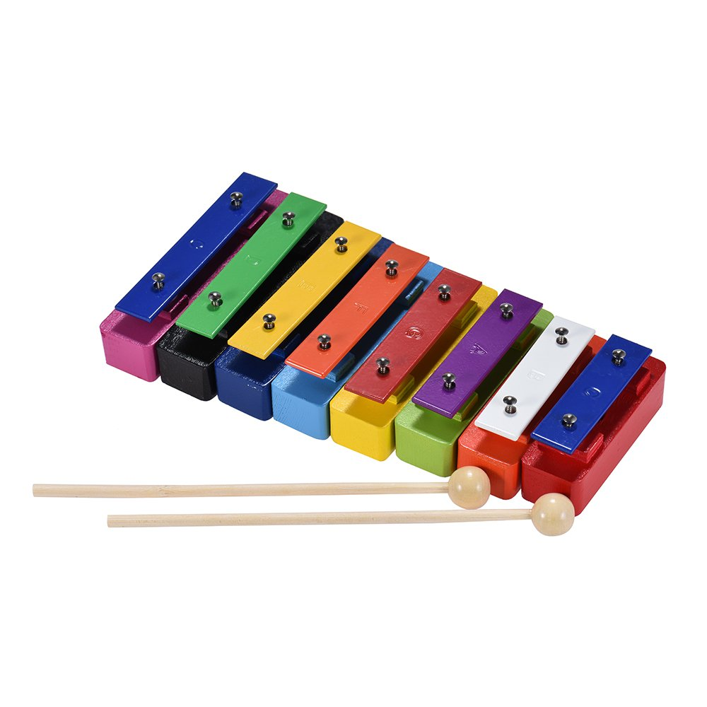 Walmeck Xylophone Colorful 8 Note Glockenspiel Resonator Bells Set Percussion Musical Educational Teaching Instrument Toy with 2 Mallets for Baby Kids Children