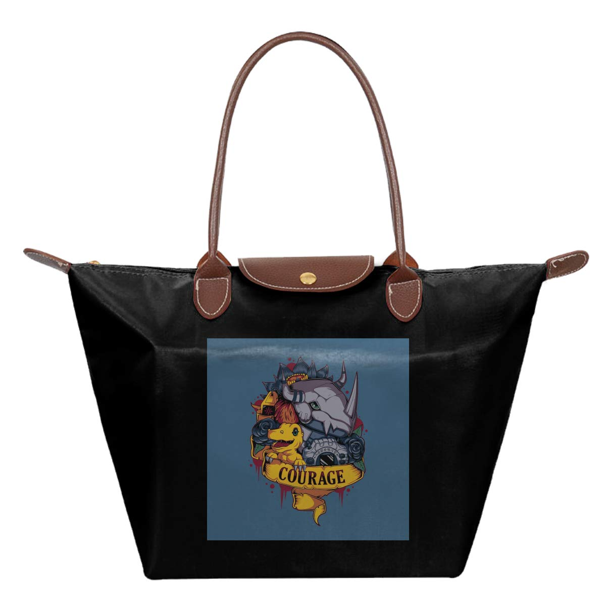 Courage Tattoo Style Greymon Dig-imon Waterproof Leather Folded Messenger Nylon Bag Travel Tote Hopping Folding School Handbags
