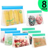Reusable Sandwich Bags, Upgrade Stand Up Ziplock Food Storage Bags, Lunch Bag, Snack Bag, BPA Free Freezer Bag for Food Organization, 4 Large Reusable Storage Bags, 4 Medium Sandwich Bags