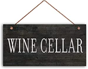 """MAIYUAN Wine Cellar Sign, Distressed Dark Wood Style, 5"""" x 10"""" Sign, Tuscan Decor, Wine Bar Sign, Rustic Signs"""