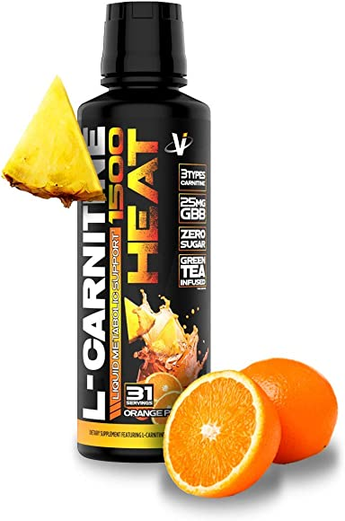 VMI Sports L-Carnitine Liquid Heat 1500 Thermogenic Fat Burner, Orange Pineapple Flavor, 31 Servings, Boost Metabolism Energy, Caffeine-Free, Weight Loss