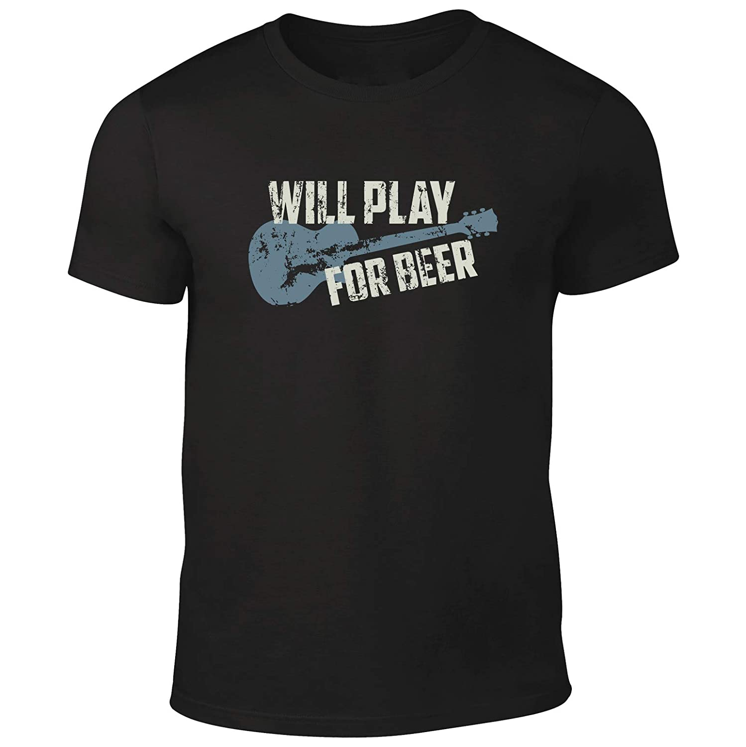 Quality Mens 'Will Play For Beer' Guitar Music T-Shirt.