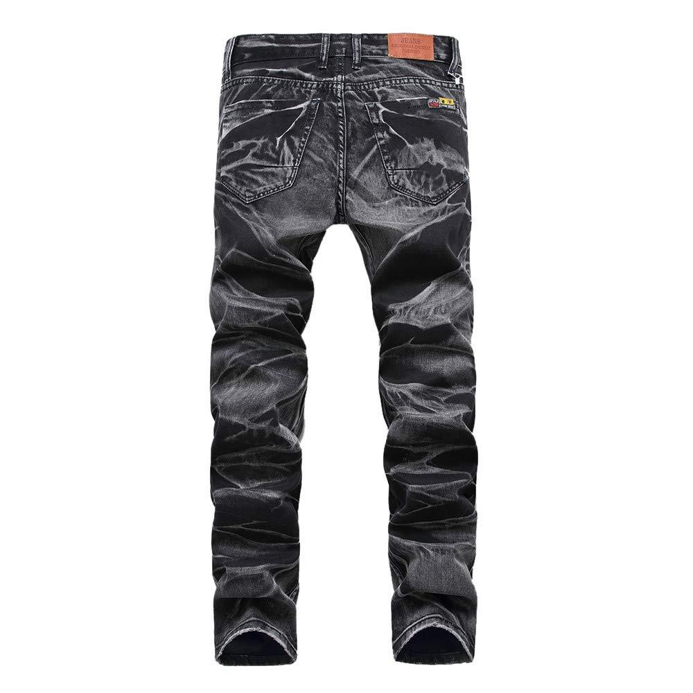 ErYao Mens Casual Autumn Vintage Jeans Denim Wash Work Trousers Zipper Basic Pants
