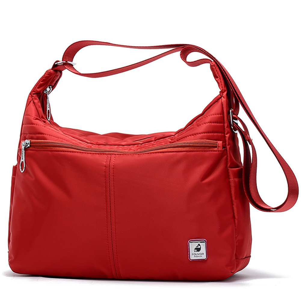 Fouvor Crossbody Hobo Bag Lightweight Waterproof Multi Pockets Travel Shoulder Bag (277801 Red)