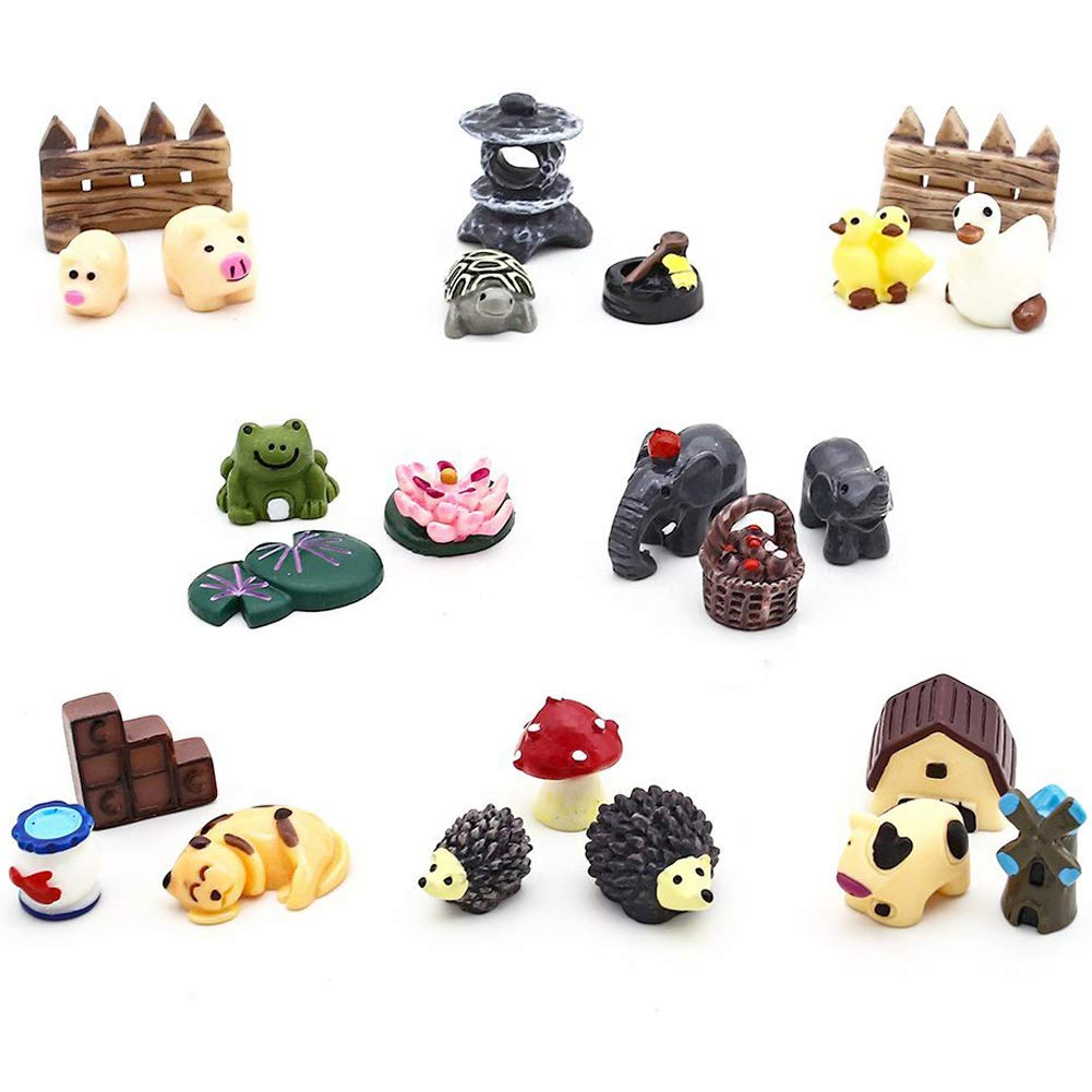 VGoodall 24 pcs Miniature Garden Ornaments, Fairy Garden Animals for Dollhouse Plant Pot, Home Decoration
