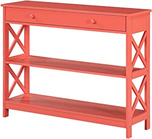 Convenience Concepts Oxford 1 Drawer Console Table, Coral