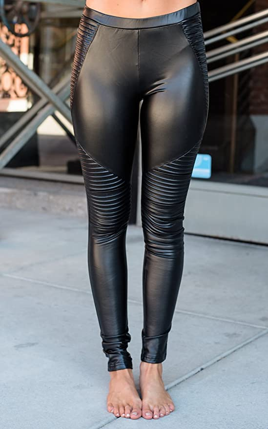 4e18880eb9a2f Karlywindow Womens Faux Leather Skinny Pants PU Stretchy Pleated Sexy Moto  Leggings at Amazon Women's Clothing store: