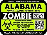 "ProSticker 1211 (TWO pack) 3""x 4"" Zombie Series ""Alabama"" Hunting License Permit Decal Sticker"