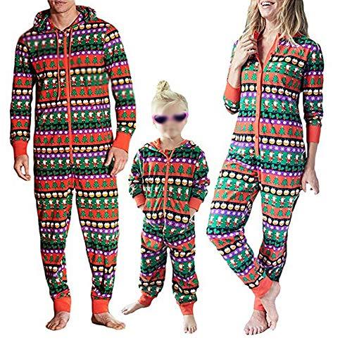 Christmas Family Matching Onesie Pajamas Santa Xmas Tree Print Hoodies