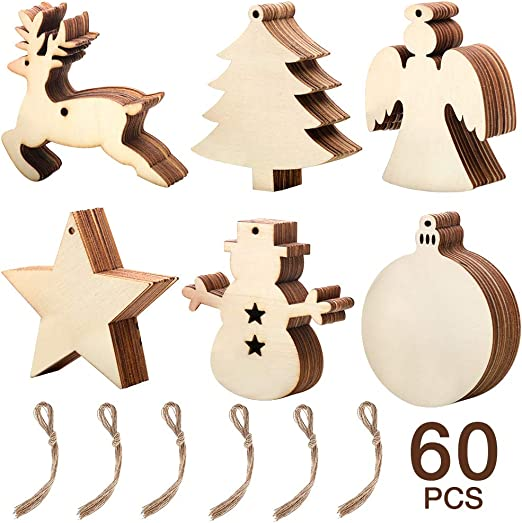 10Pcs DIY Wooden Painting Decor Craft Christmas Tree Ornaments Props Tags EY
