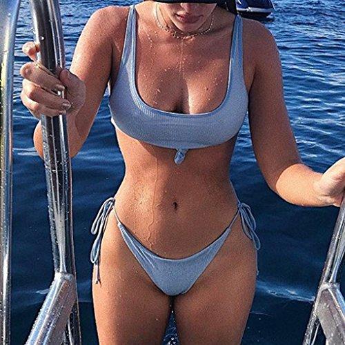 Traje de baño bikini mujeres Push-Up acolchado baño de playa Tankini sujetador conjunto Azul