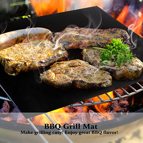 Becko BBQ Grills Mat Non-stick Reusable Baking Mats for Grilling Meat, Fish, Veggies, Seafood, Eggs - Ideal for Charcoal Grill / Gas Grill / Electric Grill (M Size x 2) by Becko
