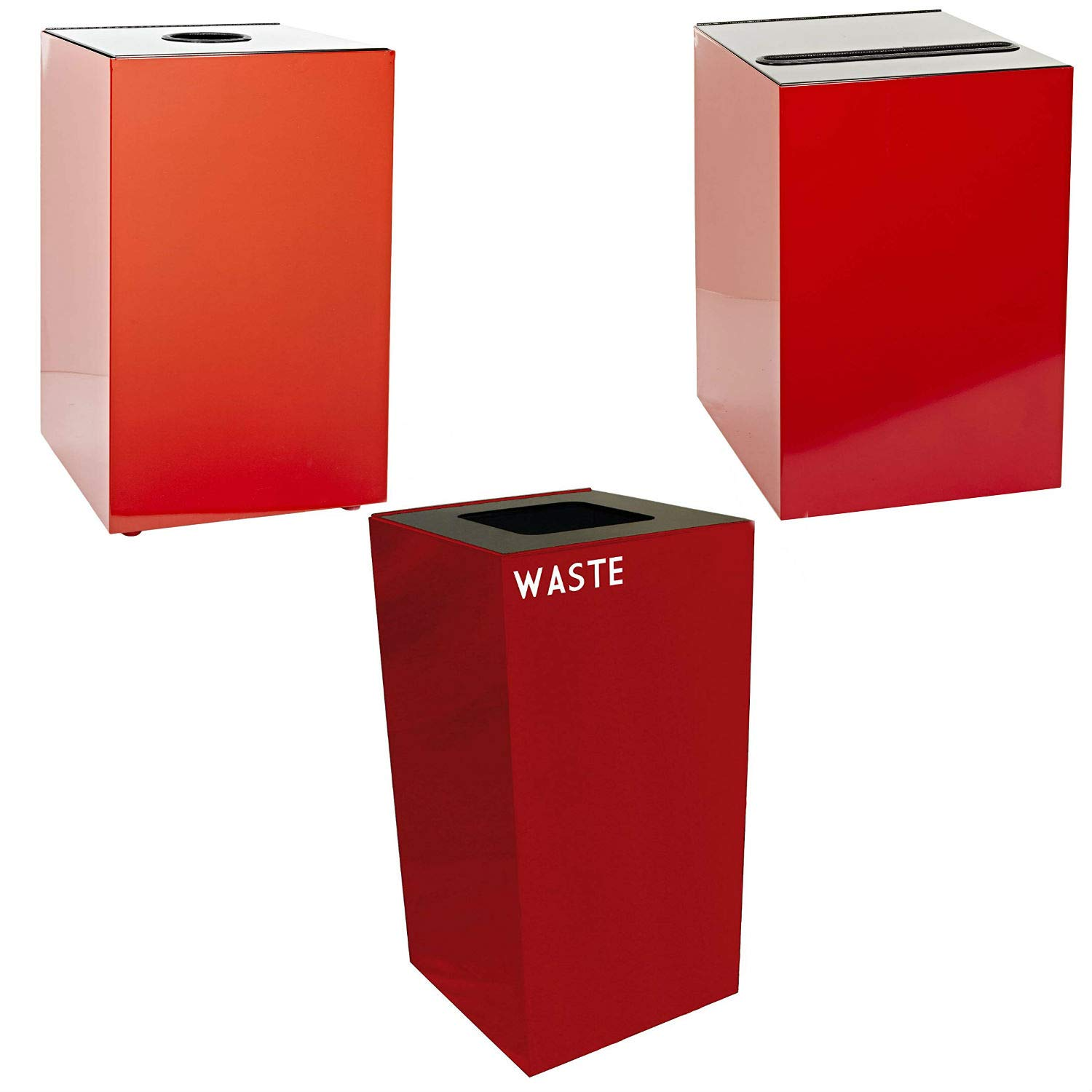 Witt Industries Steel 32-Gallon Geo Cube Recycling Container, Round Opening, Legend Cans, Slot Opening, Legend Newspaper and Square Opening, Legend Waste Square