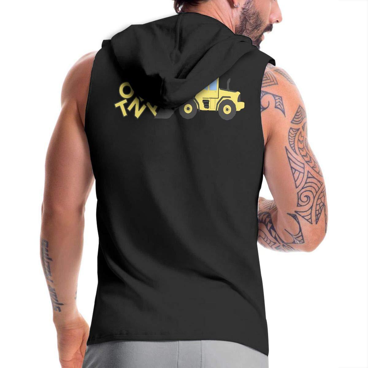 Tonka Excavator Equipment Mens Sleeveless Full Zip Hoodie Sweatshirt Bodybuilding Vest Tank