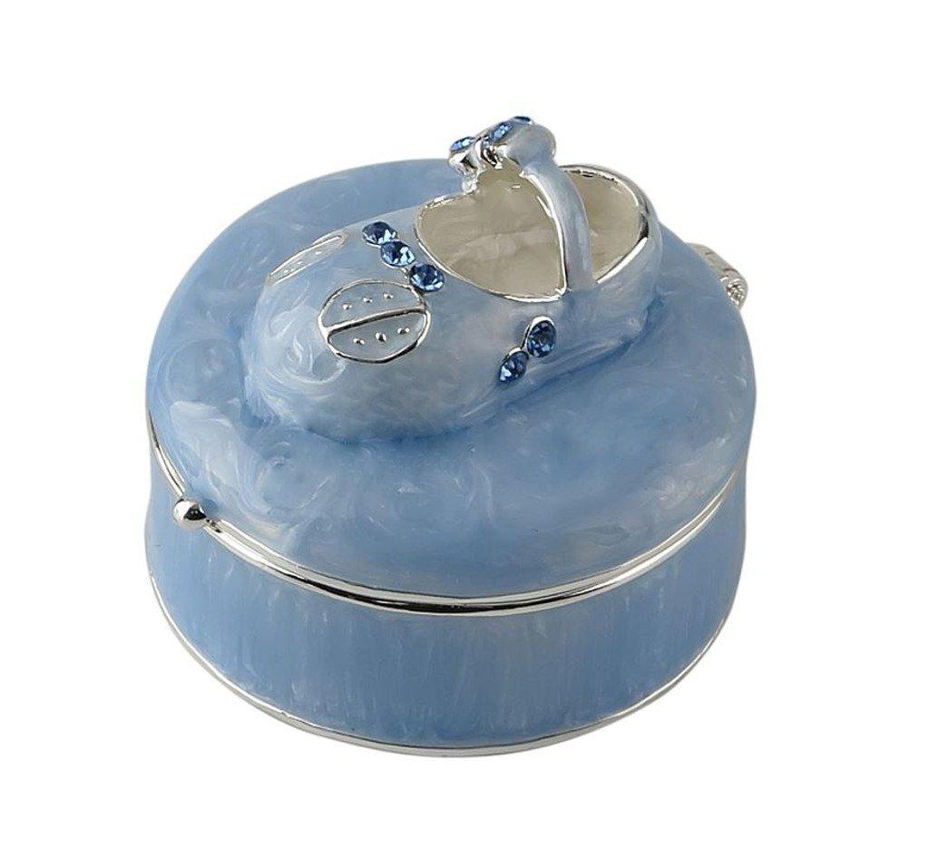 Baby Shoe Trinket Box Alloy Enamel Blue Shower Gift1 3/8 Inch High