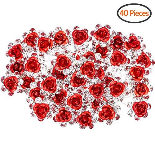 BETITETO 40 Pcs U-Shaped Flower Rhinestone Hair Pins Crystal Hair Accessories for Bridal Wedding/Party / Girls Sweet Sixteen