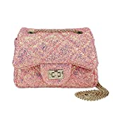 CMK Trendy Kids Quilted Pearl Embossed PU Leather Kids Purse for Little Girls with Metal Chain