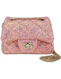 Toddler Kids Quilted Glitter Crossbody Handbags Purse...