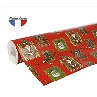 Clairefontaine 211302C Rouleau papier cadeau Alliance 60g 50x0,70m Motif Père Noël mosaïque sur fond rouge