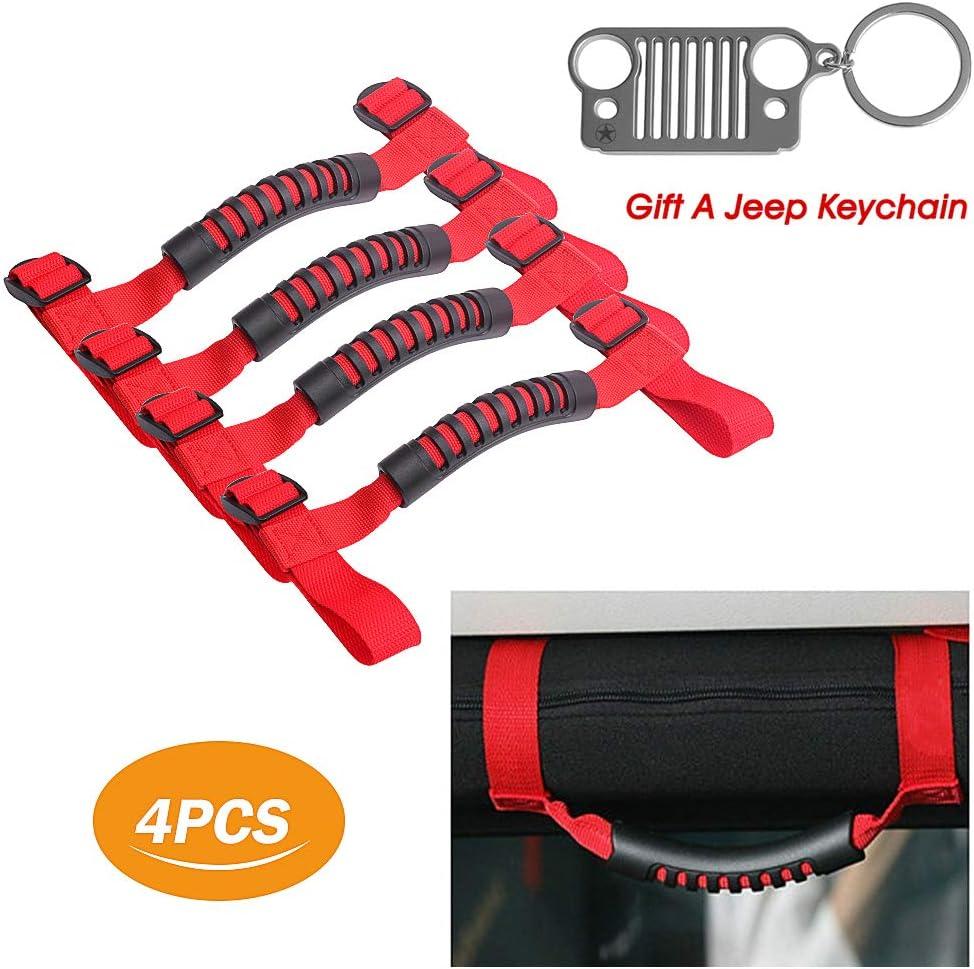 Early Bus 4 x Roll Bar Grab Handles Grip Handle for Jeep Wrangler YJ TJ JK JKU JL JLU Sports Sahara Freedom Rubicon X & Unlimited 1995-2018 (Roll Bar Red)