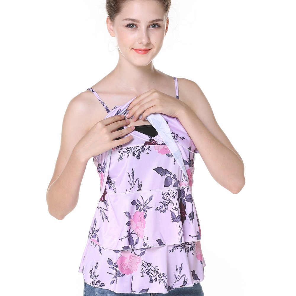 Women Double Layered Floral Maternity Breastfeeding and Nursing Tank Top Cami Shirts