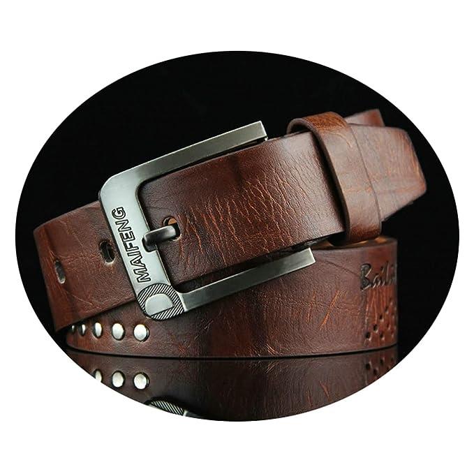 ROMQUEEN Cinturón de Piel para Hombre Cinturón Hombre Cuero ...