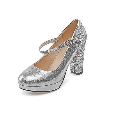 a91f82ab6e073d AllhqFashion Damen Rund Zehe Hoher Absatz Gemischte Farbe Schnalle Pumps  Schuhe